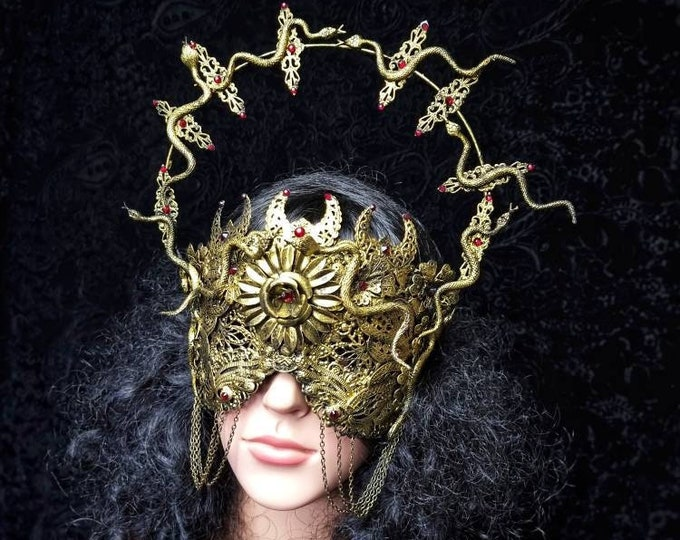 """Blind mask """" Halo of Medusa """", cosplay, goth crown, medusa costume, fantasy mask, gothic Headpiece, Cleopatra, gothic crown / MADE TO ORDER"""