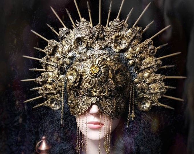 Featured listing image: Holy Angel Set, Halo headpiece & metal blindmask, set of headdress + blind mask in antique look, different colours/MADE TO ORDER