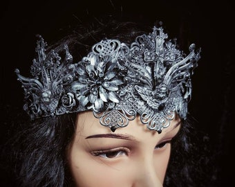 Angel Goth Crown available different colors, Gothic Crown Headpiece / MADE TO ORDER
