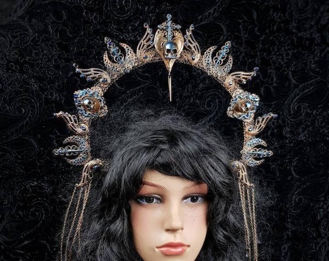 "Halo ""Excalibur"", shieldmaiden, arthur, cernunnos, vikings, goth headpiece, blind mask, pagan, goth crown, medusa, cosplay /  MADE TO ORDER"