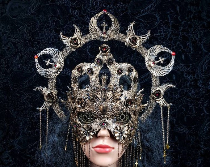 """Set """"Queen of hearts"""" blind or classic mask & Halo, goth crown, church, fantasy fashion, gothic headpiece, medusa costume / MADE TO ORDER"""