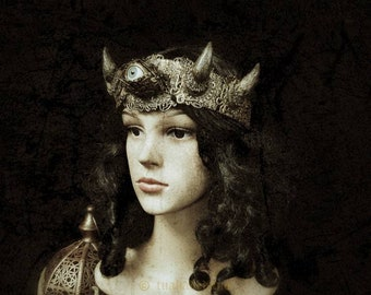 """Horns Crown """"Eye of the devil"""", headpiece, demon, eyes crown with horns, available in different color/ MADE TO ORDER"""