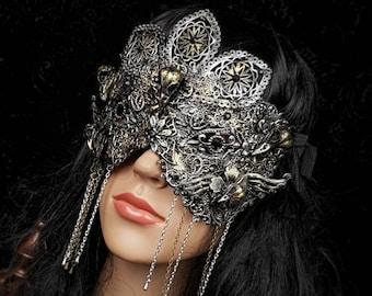 "Blind mask "" Raven "", goth crown, baroque mask, gothic headpiece, gothic mask, fantasy mask, medusa costume /Made to order"