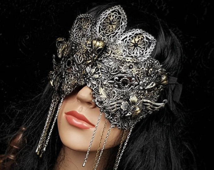 "Blind mask "" Raven "" , goth crown, baroque mask, gothic Headpiece, gothic mask, fantasy mask, medusa costume /Made to order"