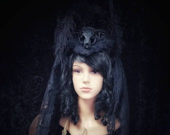 Unique Catskull (resin) Headdress with lace veil & black peacock feathers goth headpiece /Ready to ship