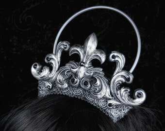 Holy Fleur de lys Crown, gothic headpiece, gothic crown, halo crown, gothic headdress in different colours available/ Made to order