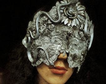 Silver Medusa Flower mask (blind mask) with snake and metal flowers/mask with snakes and metal flower/MADE TO ORDER