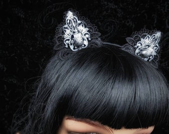 Cat ears headpiece, Gothic headpiece, cat ears headband, vegvisir birdskull resin,