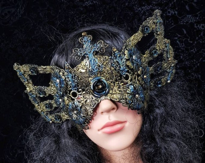 READY TO SHIP / cathedral windows, blind mask, carnevale of venice, gothic Headpiece, gothic mask, medusa costume, cosplay