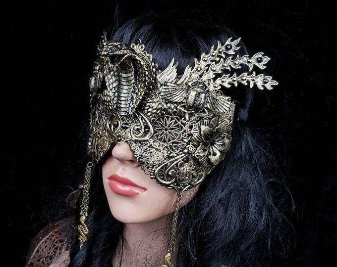 Cobra scarab mask, blind mask, Snake mask, Cleopatra Headpiece, Medusa costume, fantasy costume, available in different colors