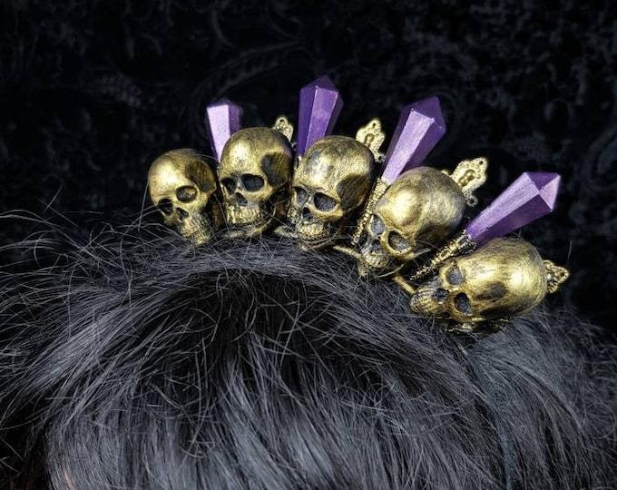 Ready to ship / Skull Crown, gothic headpiece, gothic Krone, blind mask,  medusa costume,  goth crown, goth headpiece, witch