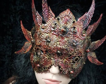 The Phoenix, blind mask, classic mask, gothic headpiece, different colors and styles available/ MADE TO ORDER