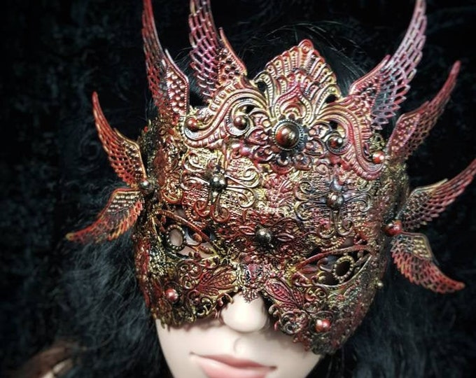 The Phoenix, blind mask, classic mask, gothic headpiece, medusa costume, goth crown / MADE TO ORDER