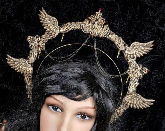 READY TO SHIP / Angel Heiligenschein Haarreif,in Antique bronze, Halo, Gothic Crown, gothic headpiece, holy crown, goth crown