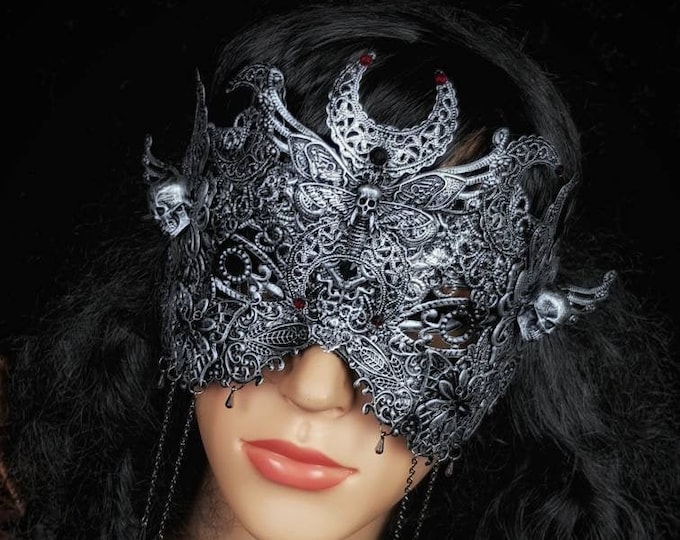 Death moth moon , blind mask, goth crown, fantasy mask, gothic Headpiece, gothic mask, gothic crown, Made to order