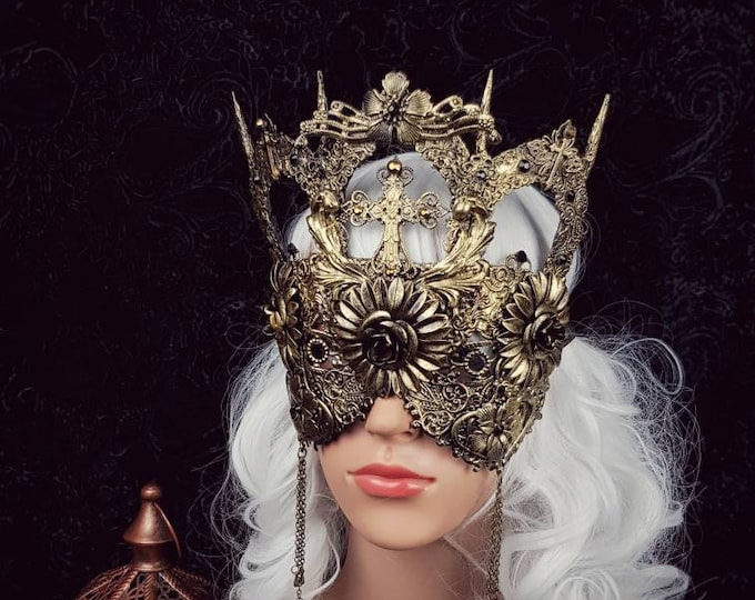 II. Cathedral blind mask, gothic headpiece, gothic crown, goth mask, cathedral, fantasy mask, medusa costume / Made to order