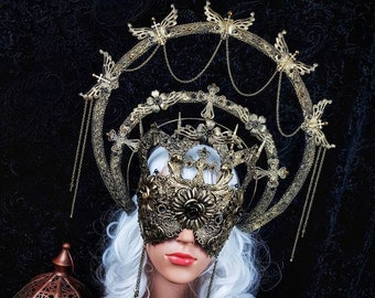 Set III Cathedral, Heiligenschein & cathedral mask, blind mask, gothic headpiece, holy crown, goth crown, medusa costume, / Made to order
