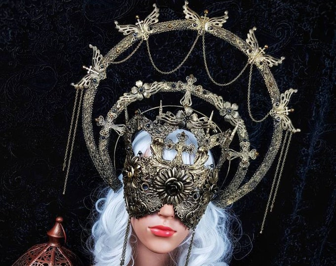 Featured listing image: Set III Cathedral, halo & cathedral mask, blind mask, gothic headpiece, holy crown, goth crown, medusa costume, / Made to order