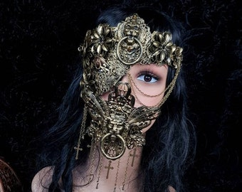 Set King Lionheart Half mask & mouth mask, gothic headpiece, gothic halo, vampire crown, goth crown, blind mask / Made to order