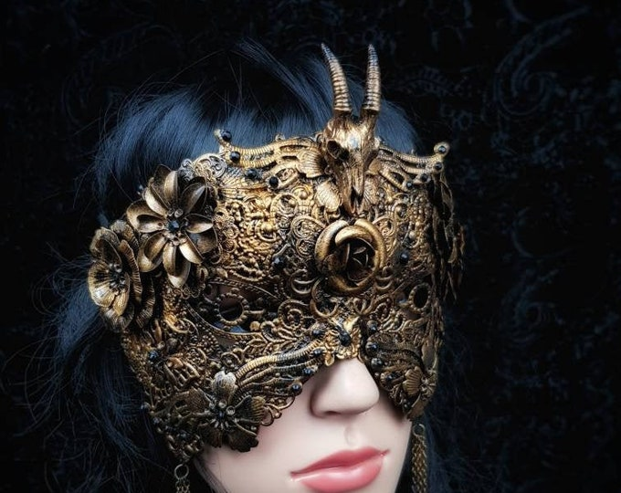 READY TO SHIP / Blind mask, antelope, pagan mask, gothic mask, gothic headpiece, cernnunos