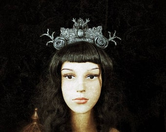 """Gothic headpiece """"Deer Antlers"""" with handmade tree branches, Antique look, hair Ripe with Resin RehkopF, hand-shaped branches, MADE TO ORDER"""