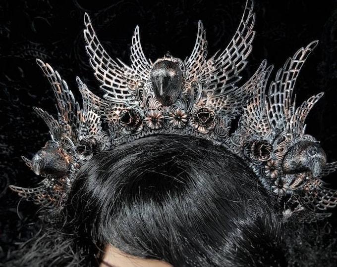 Gothic headpiece, Raven Crown, gothic crown, goth headpiece, goth crown, medusa costume, blind mask / MADE TO ORDER
