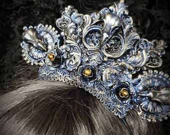 "Ready to ship! Blue gold Goth crown ""Raven"" with Ravenskulls & baroque elements and crystals, raven crown with crystals ornamental elements"