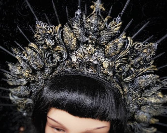 """Gothic headpiece """"Baroque Lady"""" with Victorian Resin ornaments, gothic crown/ MADE TO ORDER in different colours"""