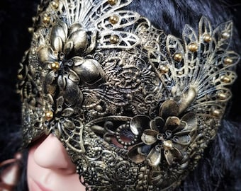"Blind mask ""Flowers Princess,"" metal mask with pearls and metal flowers, different colors available, antique look/MADE TO ORDER"