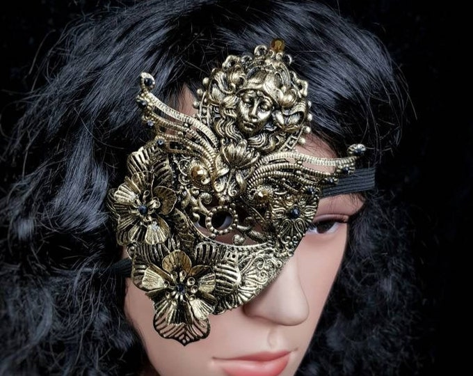 """READY TO SHIP / Blind mask, Eye Patch """" Lady Art Nouveau """", Metall Augenklappe, fantasy mask, gothic Headpiece, goth crown"""
