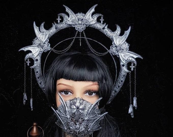 Set Vampire, Heiligenschein Haarreif & Jaw mask, gothic headpiece, gothic halo, holy crown, goth crown / Made to order