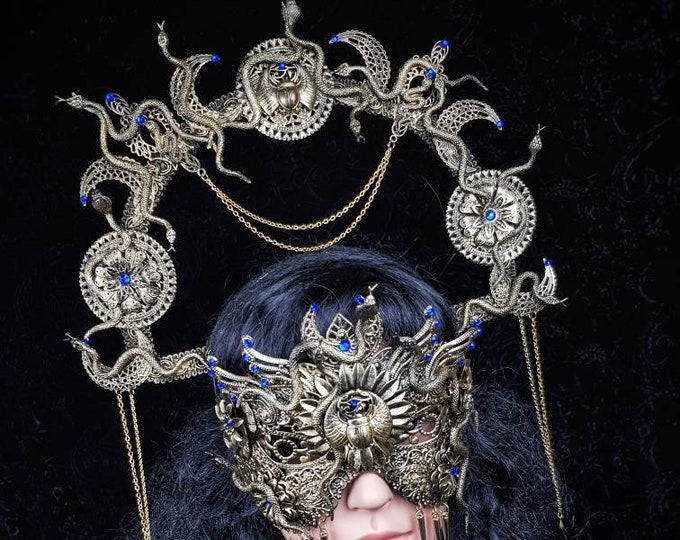 "Medusa III. Set "" Anubis "" halo & blind mask, Cleopatra, Medusa Costume, pharao, pagan, gothic headpiece, cosplay, goth crown /Made to Order"
