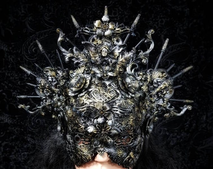 "Blind mask Headpiece ""Lady Nouveau"" Crown, Metallmaske u.Krone ,in  Antique look /  MADE TO ORDER in different colours"
