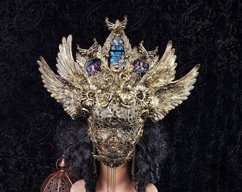 """The """" Angel Warrior """" Set, stain glass, wings, blind mask & Mouth mask, gothic headpiece, cathedral headpiece, goth crown / Made to order"""