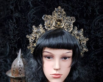 "Halo ""Holy Angels"" Headpiece in antique look gold or silver, Crown ""Holy Angel"" in the Antilook/MADE TO ORDER"
