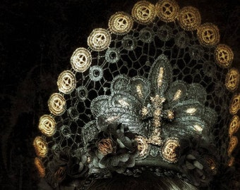 Tudor Lace Crown Headpiece in Bronze Black with Resin cross, Lace crown single piece READY TO SHIP