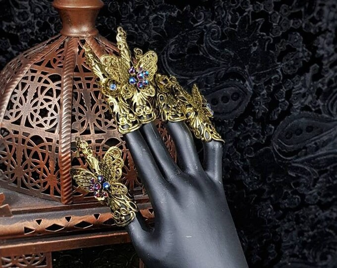 """Finger claws """" Madame Butterfly"""" ,1 hand, goth crown, cosplay, pagan, gothic headpiece, fantasy, medusa costume, blind mask / Made to order"""