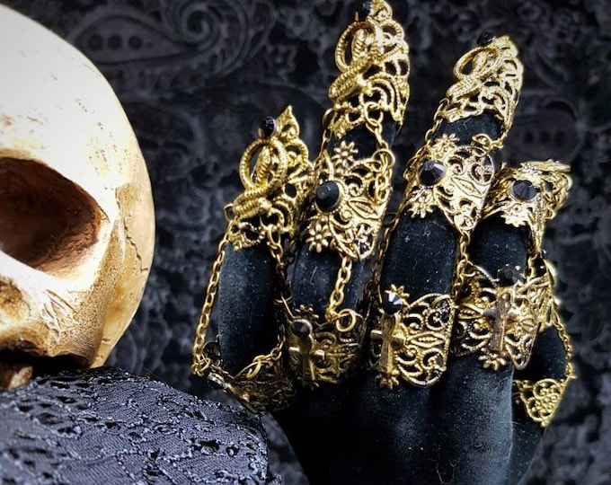 Cleopatra finger armor, finger claws, metal glove, finger claws, blind mask, goth crown, medusa costume, gothic headpiece / Made to order