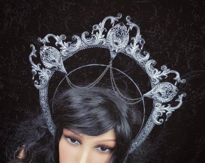 Halo Gargoyle, Heiligenschein Haarreif, Gothic headpiece, gothic headdress, holy crown, goth crown, Gothic Crown / Made to order
