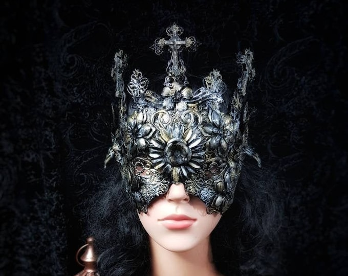 """Blind Mask """"Holy Crucified"""" halo crown, Metallmaske, gothic headpiece, gothic crown, goth crown, cathedral headpiece, Medusa, Made to order"""