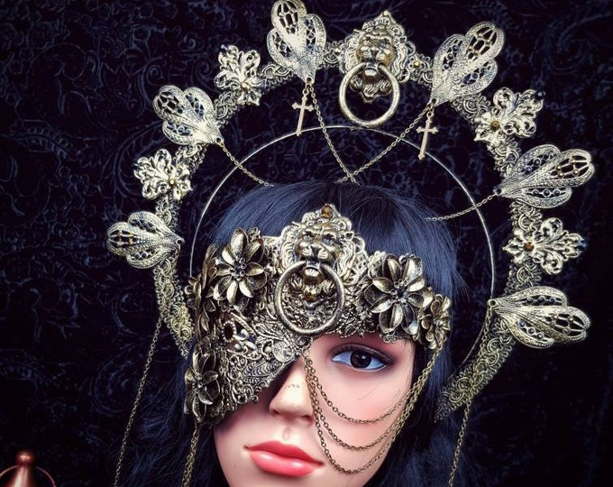 Featured listing image: I.Set King Lionheart halo headband & half mask, gothic headpiece, blind mask, crown, goth crown, different style/ Made to order