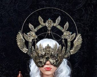 Set Angel Cathedral wings, halo & blind mask, gothic headpiece, holy crown, goth crown, halo, medusa costume, / Made to order