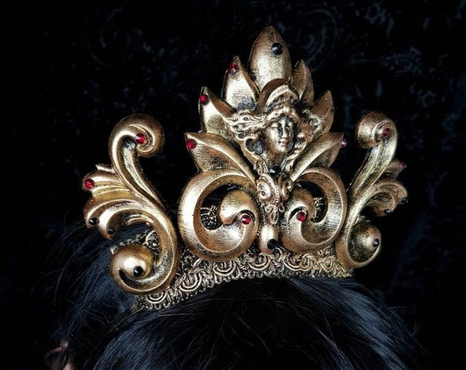 Ready to ship / Holy Baroque Crown in Antique bronze, gothic headpiece, gothic crown, halo crown, gothic headdress