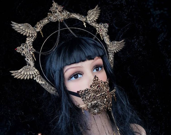 II.Set Angel Cross Halo & mouth mask, gothic headpiece, blind mask, goth headpiece, jawmask, goth crown, holy crown / Made to order