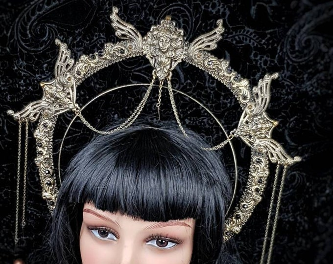 Featured listing image: Art Nouveau, Halo Headband, Halo, Gothic Crown, gothic headpiece, gothic headdress, holy crown, goth crown / Made to order