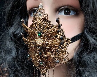 READY TO SHIP / King Lionheart , mouth mask, mouth patch, gothic headpiece, blind mask, goth crown, jaw mask, medusa costume