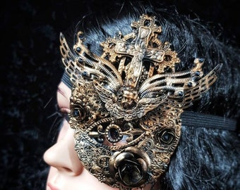 "Tudor Eye Patch ""Princess of Eboli"", blind mask, metal eye patch, with cross and angel different colors available, Antique look"