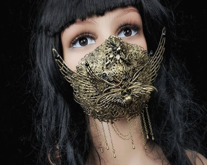 Holy crow Jaw mask, mouth mask, mouth patch, gothic mask, gothic headpiece, blind mask, baroque mask / Made to order
