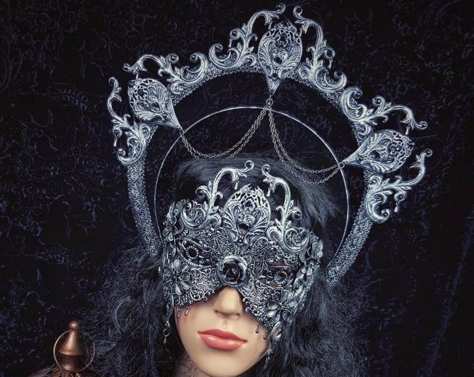 Featured listing image: Set Gargoyle halo headband & blind mask, gothic headpiece, gothic halo, vampire crown, goth crown, different style/ Made to order
