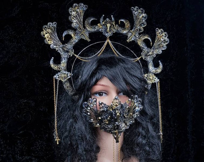 READY TO SHIP Set Anubis Halo & Jaw mask, cosplay, medusa costume, cleopatra crown, gothic crown, gothic headpiece, goth crown, blind mask